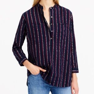 J. Crew Red navy and silver long sleeve top